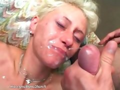 Sexy blonde milf gets her last gangbang