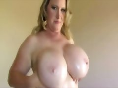 Chubby chick with huge melons dances..