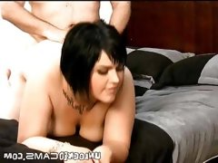 Chubby brunette masturbates and gets..