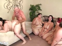 Chubby babes fucked in group sex