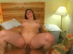Shaven pussy masturbating and riding