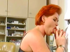 Redhead kira red fucks with young man