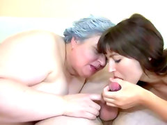 Granny and brunette blow thick shafts..