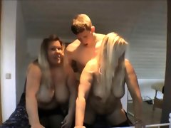 Having fun with two horny milfs with..
