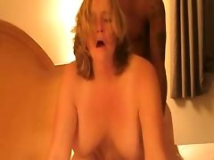 Puffy blonde girlfriend bent fucked..