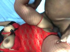 Stacked nympho in red lingerie spreads..