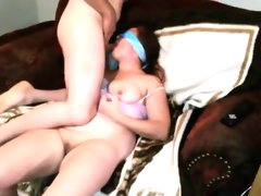 Blindfolded brunette amateur sucks a..